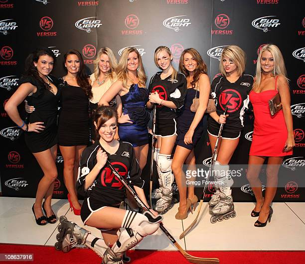 Guests pose on the red carpet at the Versus NHL All Star after party following the 2011 NHL AllStar Game at the RBC Center on January 30 2011 in...
