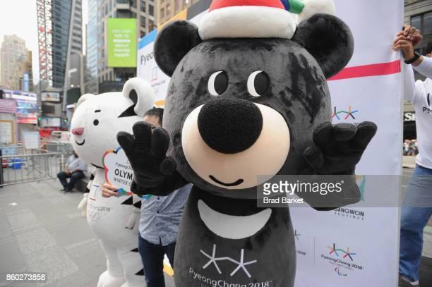 Guests pose with PyeongChang 2018 Olympic Winter Games mascots Soohorang and Bandabi during the PyeongChang 2018 Olympic Winter Games KickOff in...