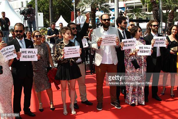 Guests protesting at 'Aquarius' premier during The 69th Annual Cannes Film Festival on May 17 2016 in Cannes
