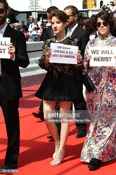 Guests protesting at Aquarius premier during The 69th Annual Cannes Film Festival on May 17 2016 in Cannes