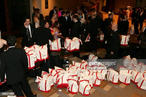 Guests receive gift bags as they depart the 33rd AFI Life Achievement Award tribute to George Lucas at the Kodak Theatre on June 9 2005 in Hollywood...