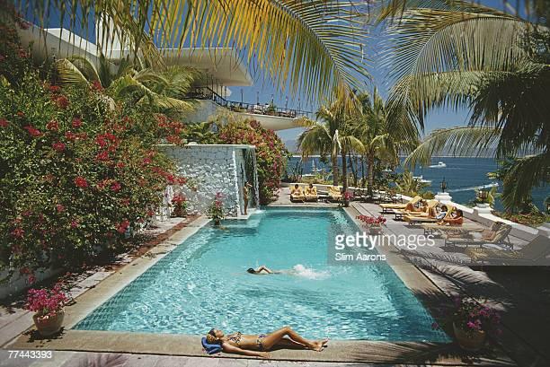 Guests round the pool at Las Hadas Manzanillo Mexico 1974