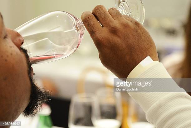 Guests sample wine from Riedel glasses during the Anthony Hamilton Russell Leading The Way With His Iconic Wines From South Africa Wine Seminar...