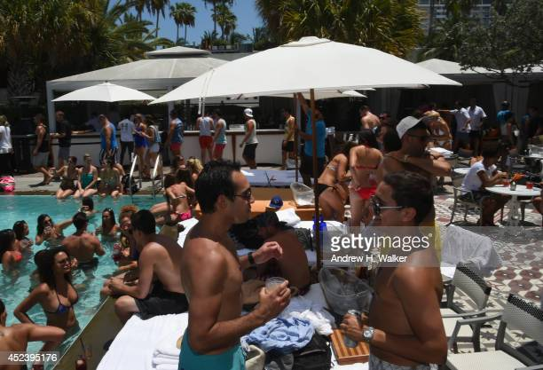 Guests sattend Ocean Drive party during MercedesBenz Fashion Week Swim 2015 at The Raleigh on July 19 2014 in Miami Beach Florida
