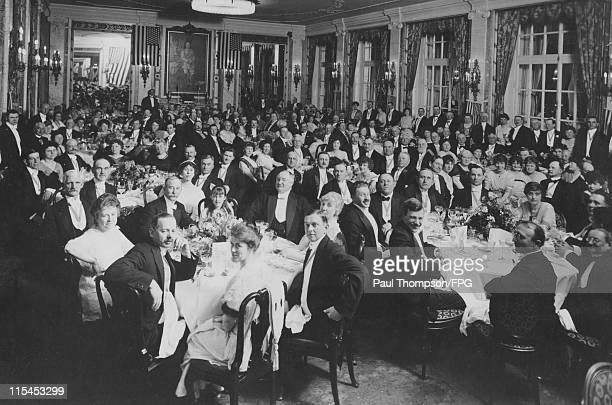 Guests seated at tables during a banquet held for US hotel owners, in the presence of the US ambassador, at the Hotel Adlon in Berlin, Germany, 4 May...