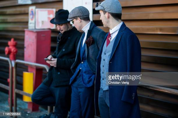 Guests seen during Pitti Uomo 97 at Fortezza Da Basso on January 08 2020 in Florence Italy