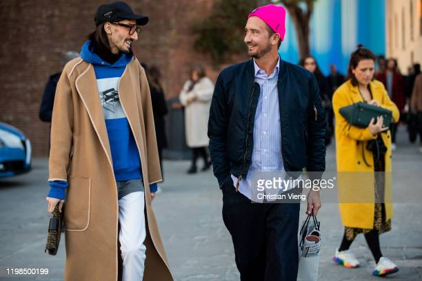 Guests seen during Pitti Uomo 97 at Fortezza Da Basso on January 09 2020 in Florence Italy