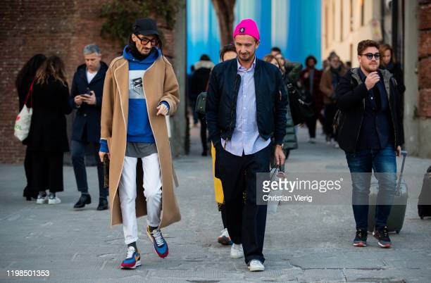 Guests seen during Pitti Uomo 97 at Fortezza Da Basso on January 09, 2020 in Florence, Italy.