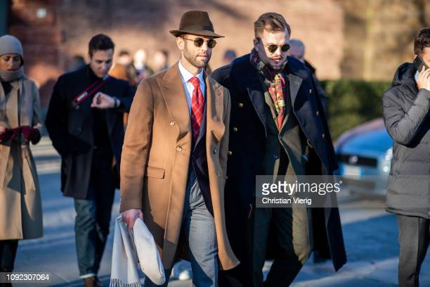 Guests seen during the 95th Pitti Uomo at Fortezza Da Basso on January 10 2019 in Florence Italy
