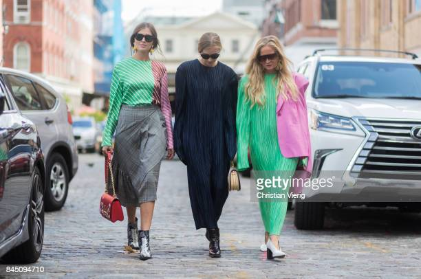 Guests seen in the streets of Manhattan outside Tibi during New York Fashion Week on September 9 2017 in New York City