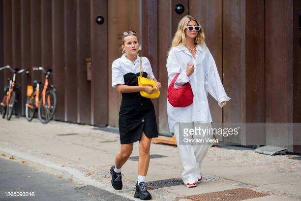 Guests seen outside 7 days active during Copenhagen Fashion Week SS21 on August 10, 2020 in Copenhagen, Denmark.