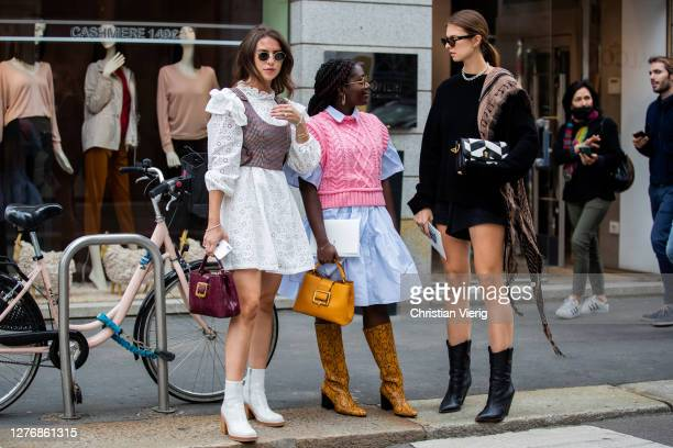 Guests seen outside Bally during the Milan Women's Fashion Week on September 26, 2020 in Milan, Italy.