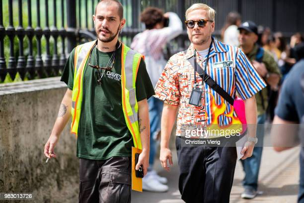 Guests seen outside Balmain on day six of Paris Fashion Week Menswear SS19 on June 24 2018 in Paris France