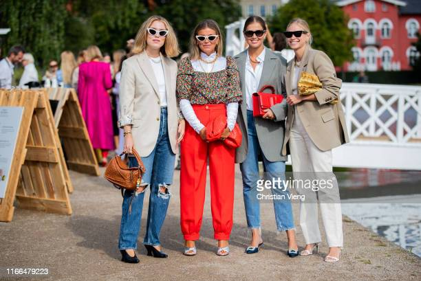 Guests seen outside Blanche during Copenhagen Fashion Week Spring/Summer 2020 on August 06, 2019 in Copenhagen, Denmark.