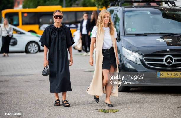 Guests seen outside Blanche during Copenhagen Fashion Week Spring/Summer 2020 on August 06, 2019 in Copenhagen, Denmark.