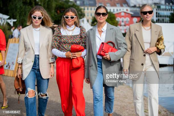Guests seen outside Blanche during Copenhagen Fashion Week Spring/Summer 2020 on August 06 2019 in Copenhagen Denmark