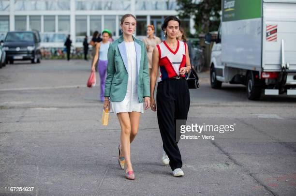 Guests seen outside Cecilie Bahnsen during Copenhagen Fashion Week Spring/Summer 2020 on August 07 2019 in Copenhagen Denmark