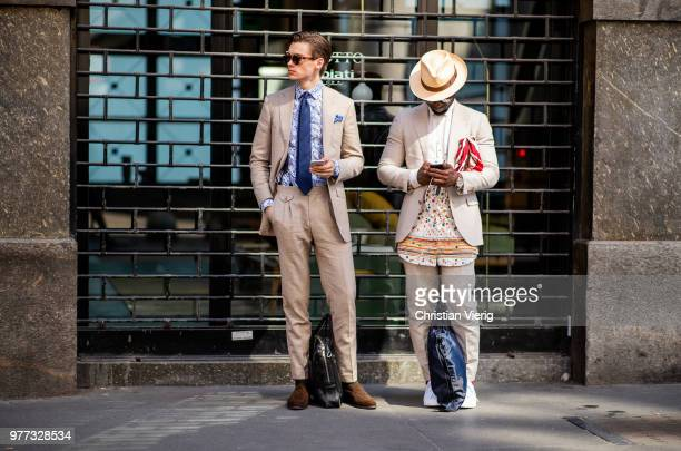 Guests seen outside Daks during Milan Men's Fashion Week Spring/Summer 2019 on June 17 2018 in Milan Italy
