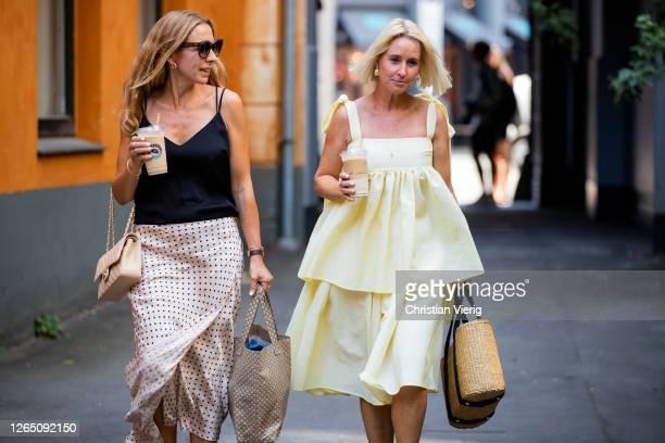 Guests seen outside Designers Remix during Copenhagen Fashion Week SS21 on August 10, 2020 in Copenhagen, Denmark.