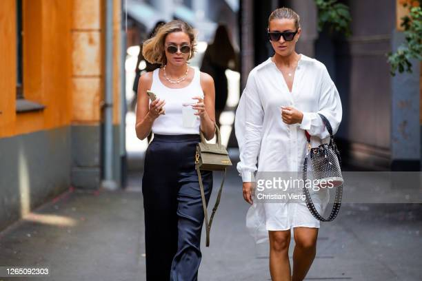 Guests seen outside Designers Remix during Copenhagen Fashion Week SS21 on August 10 2020 in Copenhagen Denmark