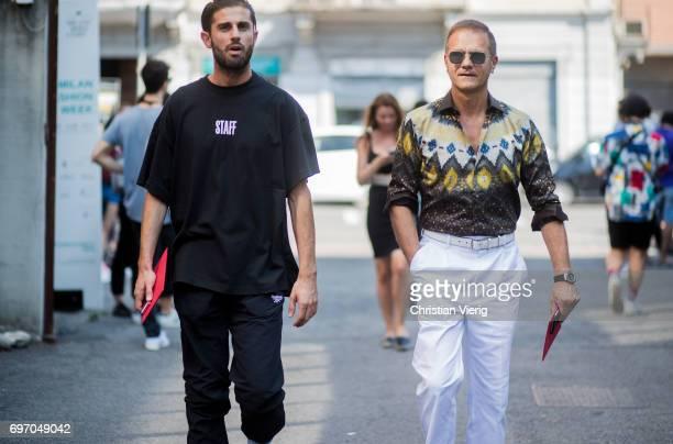 Guests seen outside Diesel during Milan Men's Fashion Week Spring/Summer 2018 on June 17 2017 in Milan Italy