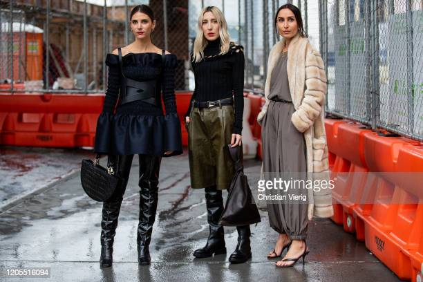 Guests seen outside Dion Lee during New York Fashion Week Fall / Winter on February 10, 2020 in New York City.