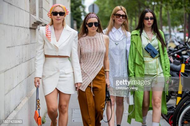 Guests seen outside Dior on July 05, 2021 in Paris, France.