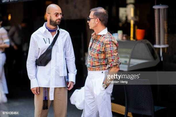 Guests seen outside Dolce Gabbana during Milan Men's Fashion Week Spring/Summer 2019 on June 16 2018 in Milan Italy