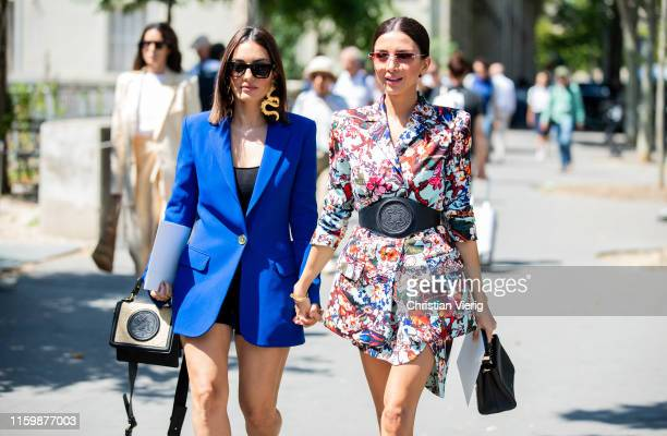 Guests seen outside Elie Saab during Paris Fashion Week Haute Couture Fall/Winter 2019/2020 on July 03 2019 in Paris France