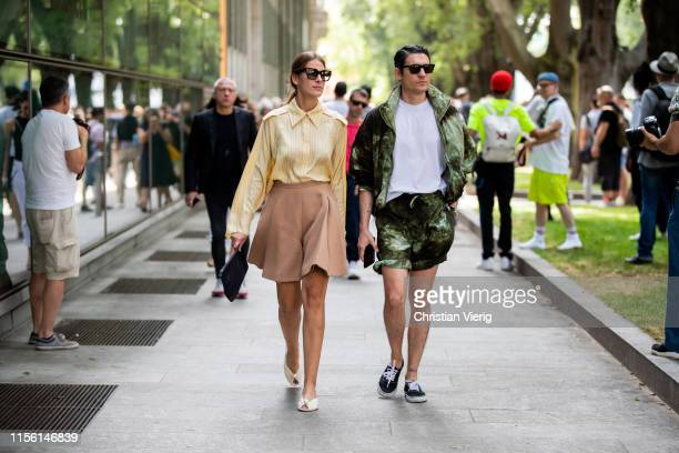 Guests seen outside Emporio Armani during the Milan Men's Fashion Week Spring/Summer 2020 on June 15 2019 in Milan Italy