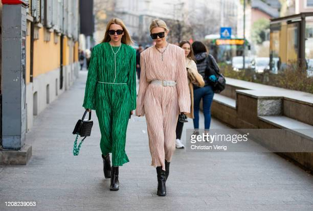 Guests seen outside Etro during Milan Fashion Week Fall/Winter 2020-2021 on February 21, 2020 in Milan, Italy.