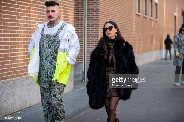 Guests seen outside Fendi during Milan Fashion Week Fall/Winter 2020/2021 on January 13, 2020 in Milan, Italy.