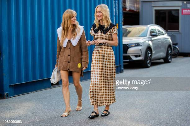 Guests seen outside Ganni during Copenhagen Fashion Week Spring Summer 2021 on August 10 2020 in Copenhagen Denmark