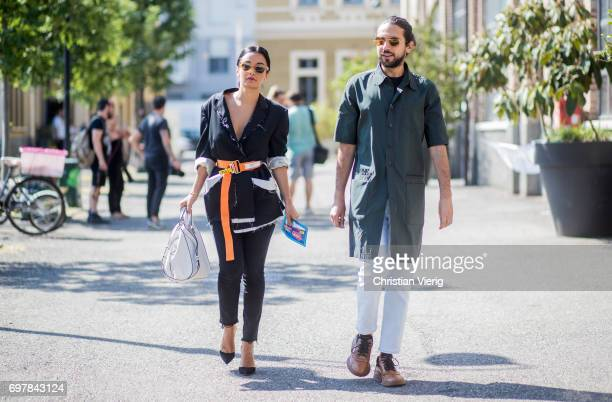 Guests seen outside GCDS during Milan Men's Fashion Week Spring/Summer 2018 on June 19 2017 in Milan Italy