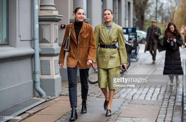 Guests seen outside Gestuz on Day 1 during Copenhagen Fashion Week Autumn/Winter 2020 on January 28, 2020 in Copenhagen, Denmark.