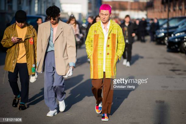 Guests seen outside Gucci on Day 1 Milan Fashion Week Autumn/Winter 2019/20 on February 20 2019 in Milan Italy