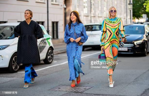Guests seen outside Helmstedt during Copenhagen Fashion Week Spring/Summer 2020 on August 07, 2019 in Copenhagen, Denmark.