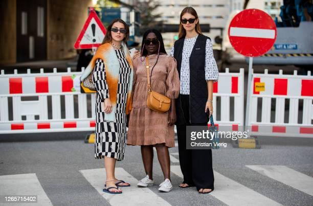 Guests seen outside Henrik Vibskov during Copenhagen Fashion Week Spring/Summer 2021 on August 12, 2020 in Copenhagen, Denmark.