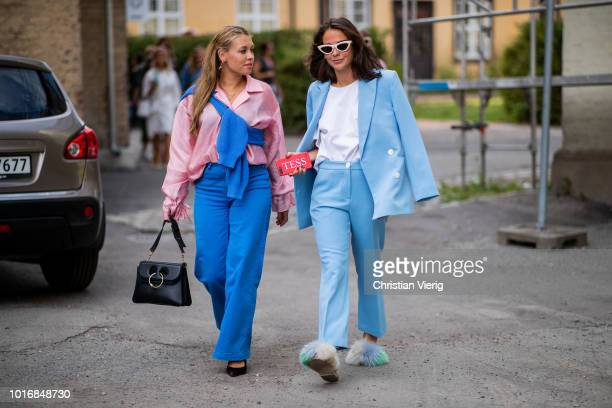 Guests seen outside Iben during Oslo Runway SS19 on August 14 2018 in Oslo Norway