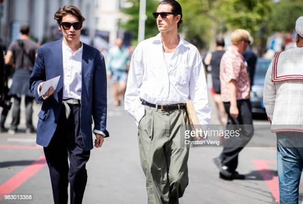 Guests seen outside Lanvin on day six of Paris Fashion Week Menswear SS19 on June 24 2018 in Paris France