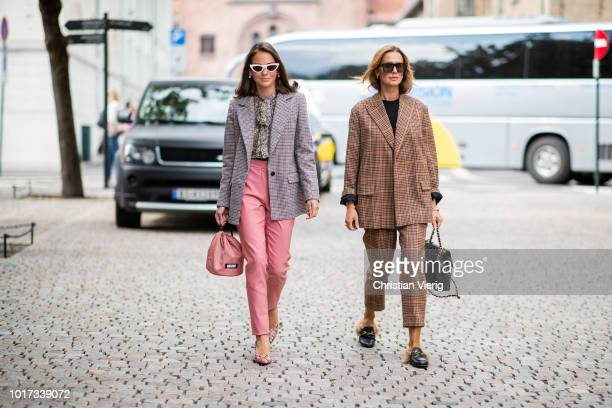 Guests seen outside Line of Oslo during Oslo Runway SS19 on August 15 2018 in Oslo Norway