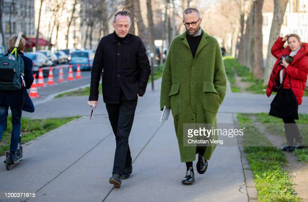 Guests seen outside Loewe during Paris Fashion Week - Menswear F/W 2020-2021 on January 18, 2020 in Paris, France.