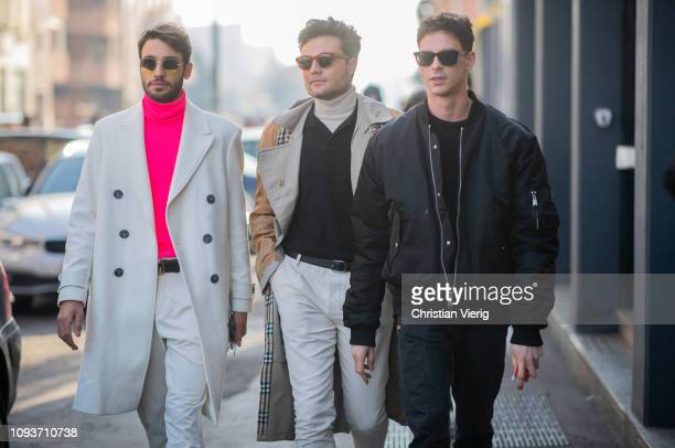 Guests seen outside MSGM during Milan Menswear Fashion Week Autumn/Winter 2019/20 on January 13 2019 in Milan Italy