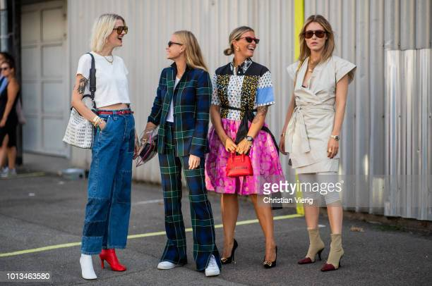 Guests seen outside MUF10 during the Copenhagen Fashion Week Spring/Summer 2019 on August 8, 2018 in Copenhagen, Denmark.