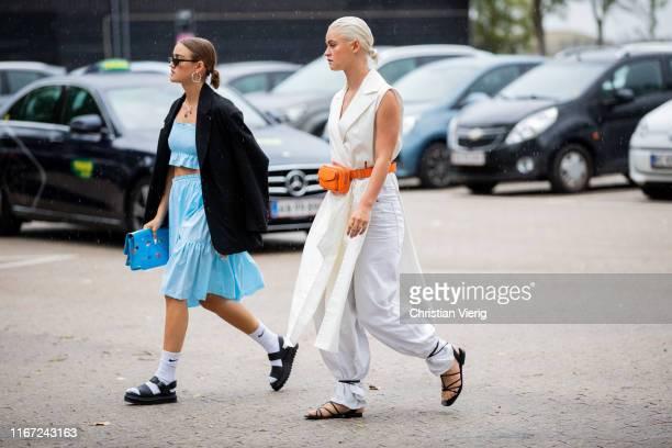 Guests seen outside Munthe during Copenhagen Fashion Week Spring/Summer 2020 on August 07 2019 in Copenhagen Denmark