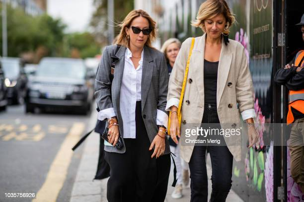 Guests seen outside Natasha Zinko during London Fashion Week September 2018 on September 18 2018 in London England