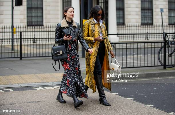 Guests seen outside Petar Petrov during London Fashion Week February 2020 on February 15 2020 in London England
