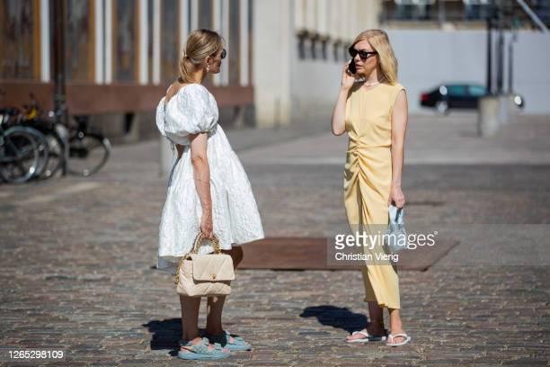Guests seen outside Remain Birger Christensen during Copenhagen Fashion Week Spring/Summer 2021 on August 11, 2020 in Copenhagen, Denmark.