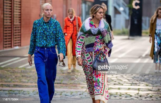 Guests seen outside Rotate during Copenhagen Fashion Week Spring/Summer 2020 on August 08 2019 in Copenhagen Denmark