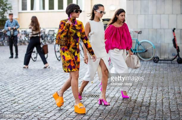 Guests seen outside Saks Potts during Copenhagen Fashion Week Spring/Summer 2020 on August 08, 2019 in Copenhagen, Denmark.